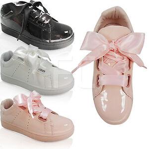 detallado 291ac 4bd9e Detalles de Para Mujer Planas bajo Cinta Cordones Zapatos Zapatillas  Zapatillas Talla