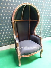 Hooded Canopy Chair   raw unpainted with calico upholstery