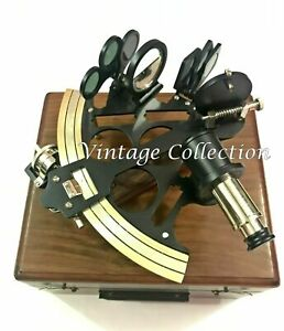 8-034-Antique-Brass-Black-Finish-Nautical-Sextant-Fully-Working-Ship-Instruments