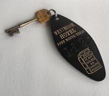 ANTIQUE Vintage WESTBROOK HOTEL Fort Worth Texas Room Key & Return FOB  HISTORIC