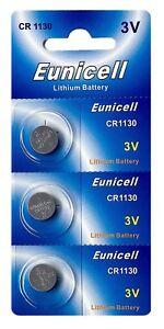 3-x-CR1130-3V-Lithium-Knopfzelle-48-mAh-1-Blistercard-a-3-Batterien-Eunicell