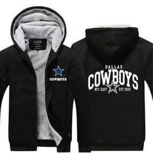 sneakers for cheap 09cdb 4520c Details about NEW Men's Dallas Cowboys Hoodie Zip up Jacket Coat Winter  Warm Black and Gray *1