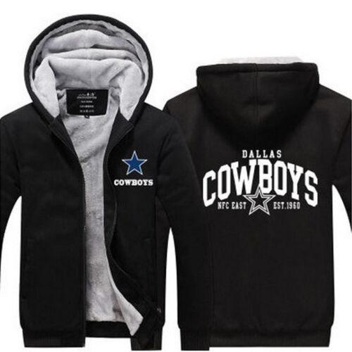 NEW Men/'s Dallas Cowboys Hoodie Zip up Jacket Coat Winter Warm Black and Gray *1