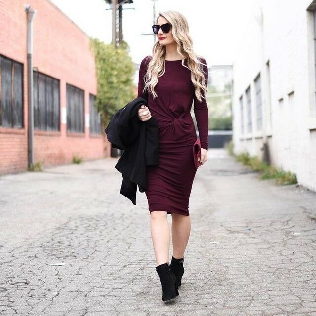 NWT Topshop Knot Front Long Dress Burgundy Size 2US