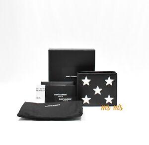 d8938f9a36a SAINT LAURENT YSL Nero Black Calf Leather Silver Star Bifold Wallet ...