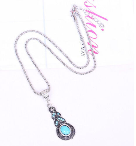 Tibetan Silver Blue Turquoise Chain Crystal Pendant Necklace Fashion JewelrODFK