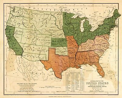 Map of US Showing Slave and Free States 1857 Civil War Print Fine Art Print