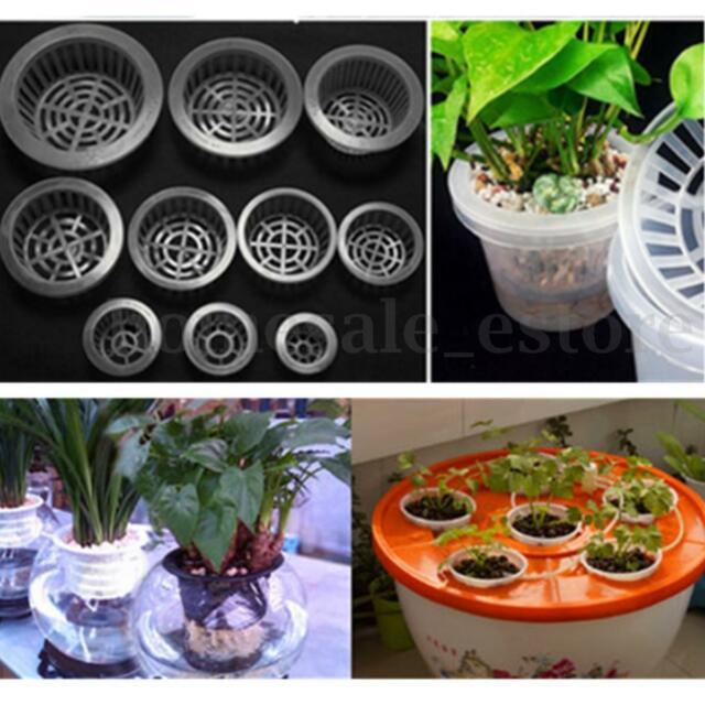 White Plastic Hydroponic Planting Mesh Net Flower Pot Basket Plant Grow Cup Set
