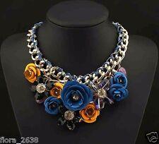 SUBLIME Collier métal doré, cristal, fleurs, bleu, jaune, noir, bijoux fantaisie