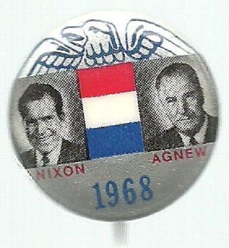 NIXON, AGNEW SILVER EAGLE 1968 JUGATE POLITICAL CAMPAIGN PIN
