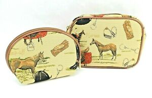 English-Horse-Tapestry-Travel-Makeup-Bag-Cute-Toiletry-Cosmetic-Pouch-Set-of-2