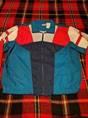 Vintage colorblock windbreaker jacket xl men\u2019s unisex blue yellow red 90\u2019s California tire firestone spellout