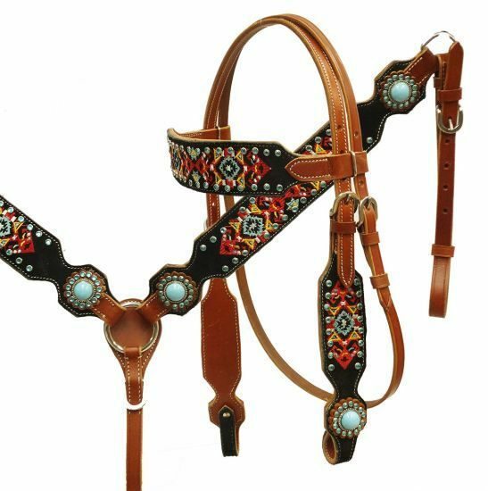 Showman Piedra Turquesa Navajo Bordado Cuero Brida breastcollar riendas Set