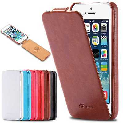 New Vintage Flip Handmade Leather Hard Case Cover For iPhone Samsung HTC