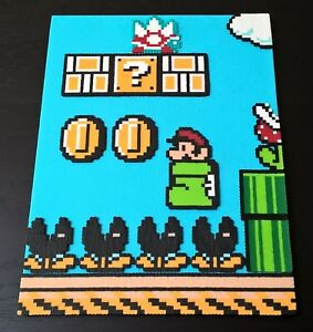 Perler Super Mario Bros 3 For Nintendo Nes Handmade Pixel Art On Canvas 8 X 10 Ebay