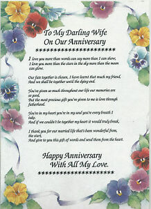 Image Is Loading Wedding Anniversary Poem Verse Rhyme A4 Laminated Keepsake