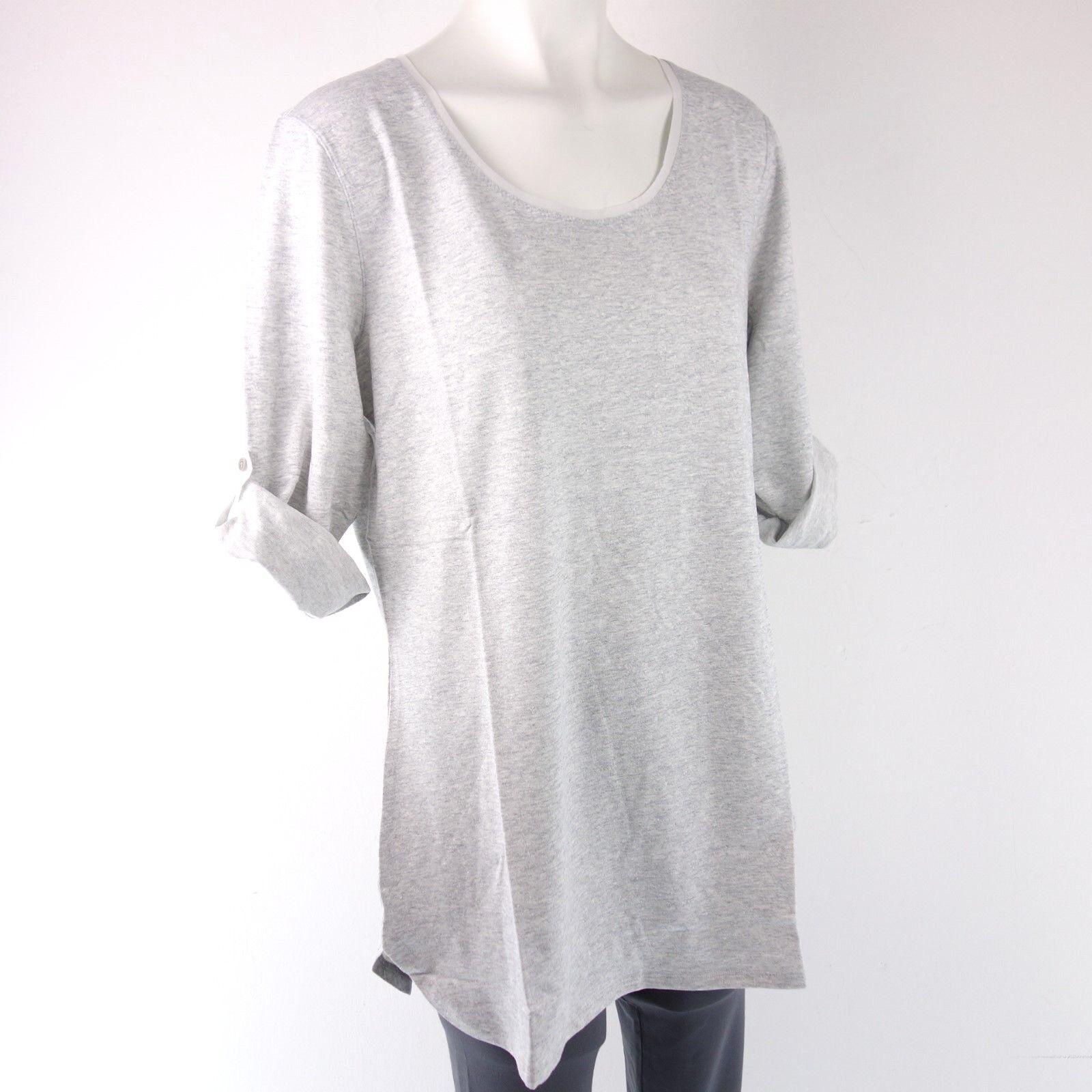 Le Jersey Perugia Women Shirt Size XL XXL 42 44 Grey Canvas Top Np 179 New
