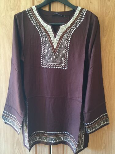 New/_Beautiful/_Boho/_Hippie/_Long Tunic/_Embroidered Top/_Brown/_Free Size/_Fits S-M-L
