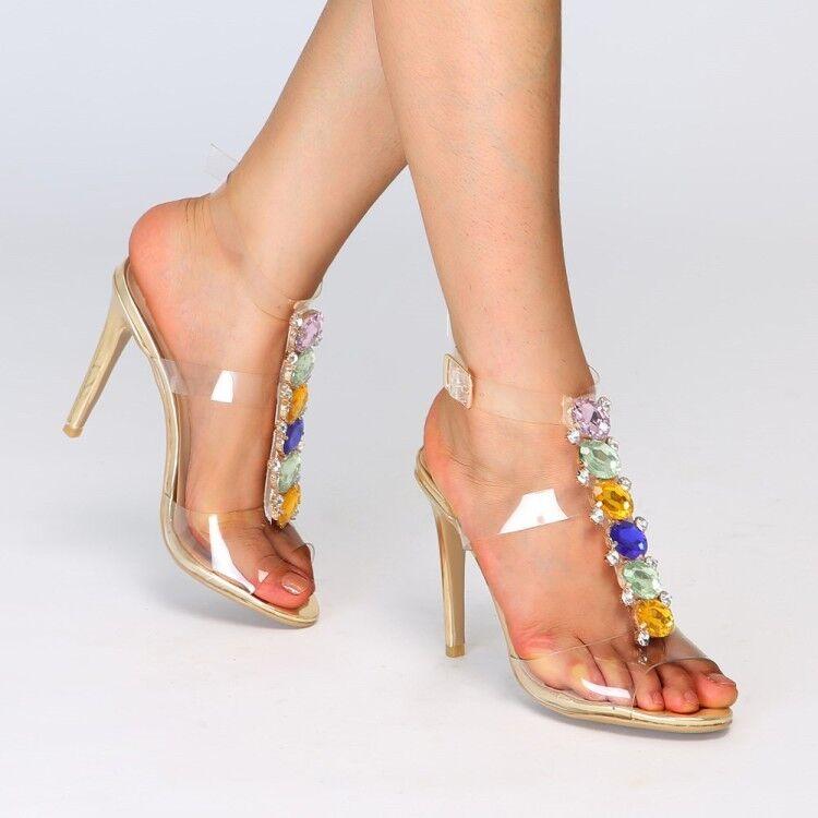 Mujeres Rhinestone claro Delgado Tacón Alto Charol Sandalias Zapatos Puntera Abierta Talla Grande