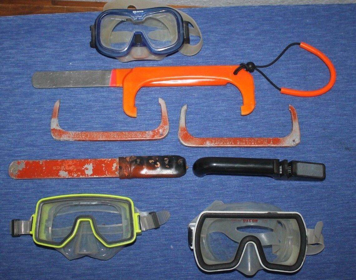 Abalone  Divers   LOT    mask      Pry Bar    Measure gauge   SCUBA DIVE