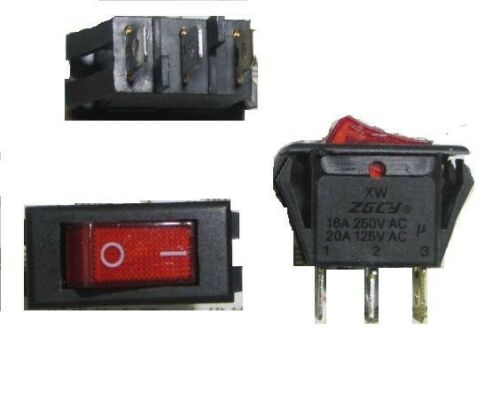 High Current Red Light, SPST,3P 2pc Rocker Switch 3-Pin 250V16A 125V20A ON-OFF