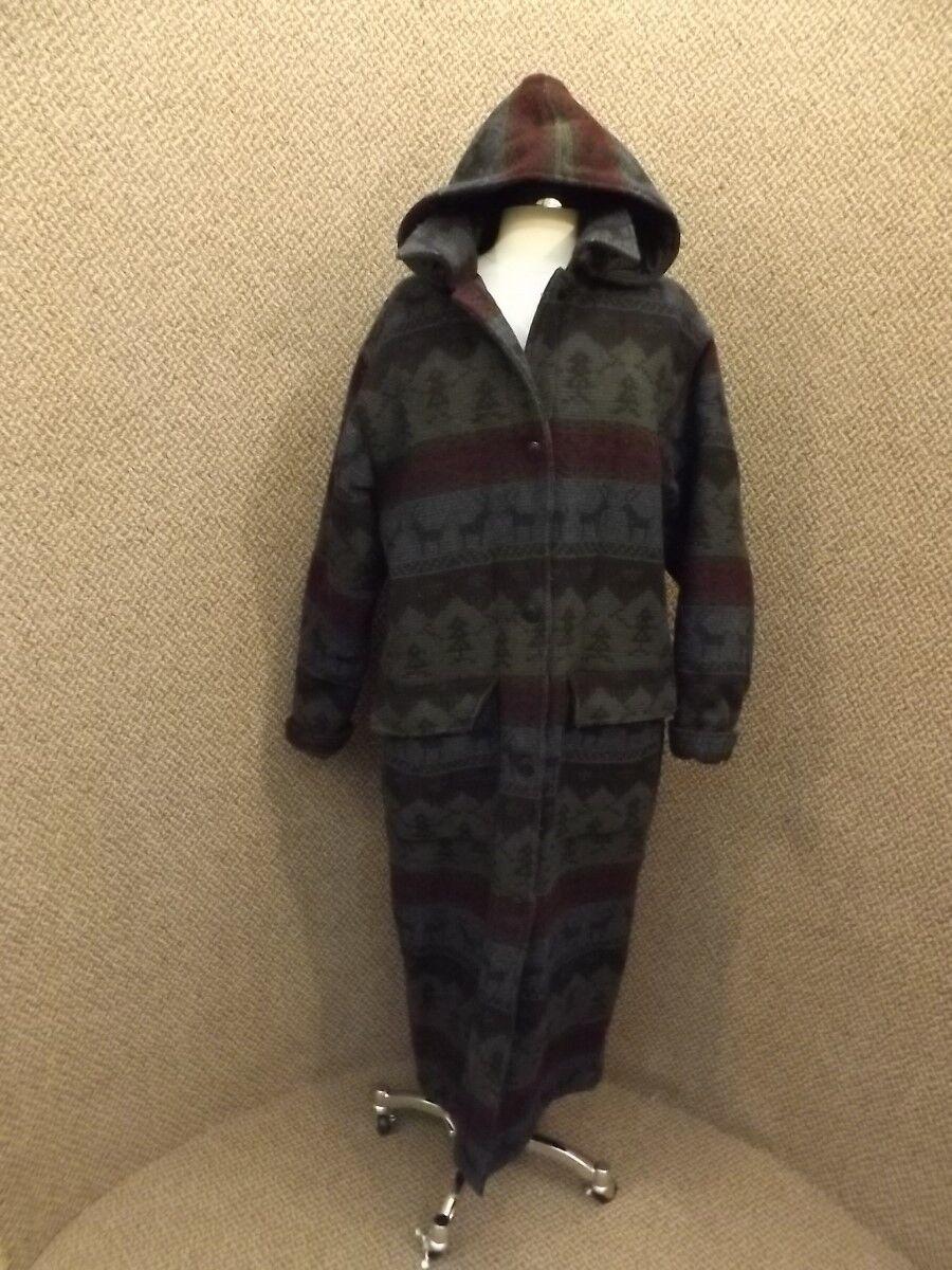 Vtg Woolrich Quilt Lined Long Length Blanket Coat Sz M Northwoods Deer Native