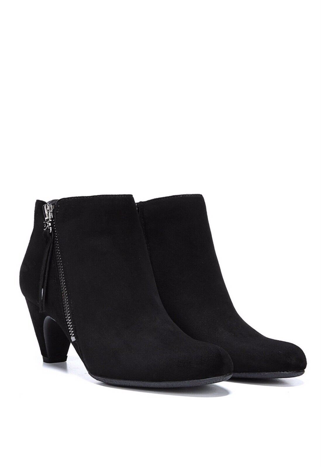 Sam Edelman Mavis Ankle Boot Black Suede Leather Double Zip Heeled Bootie 7.5