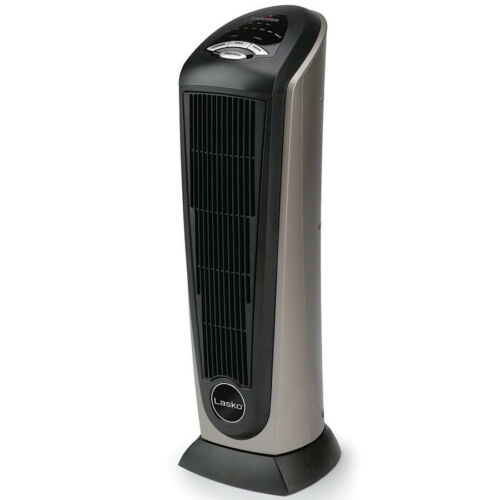 Lasko Portable 1500W Ceramic Tower Oscillating Electric Space Heater with Remote