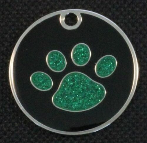 LASER Etched Round Glitter Paw Pet ID Tag Custom Engraved Dog /& Cat Personalized