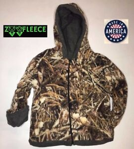 746656f56f2 Image is loading ZooFleece-Shadow-Grass-Camouflage -Kids-Waterfowl-Reversible-Jacket-