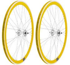 Coppia Ruote Bici Fixed Gialle Profilo 40mm scatto fisso pista