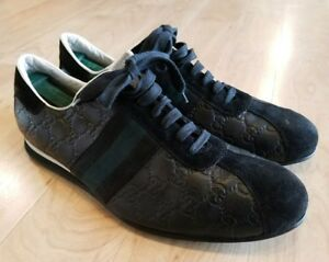 6d2ea8bff GUCCI Guccissima Black Leather Lace Up Sneakers Web Signature Men's ...