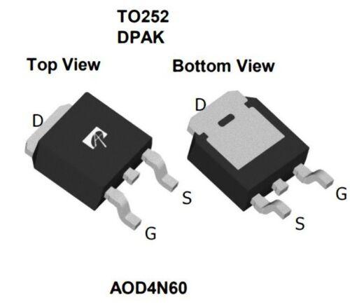 1 pezzo AOD4N60 MOSFET N-Channel 600V, 4A, 2,3 Ohm, 4N60, D4N60