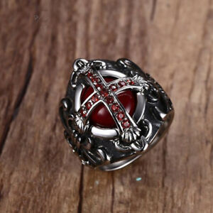 Mens-Vintage-Cross-Ring-Blood-Red-Zircon-Stone-Stainless-Steel-Punk-Male-Jewelry