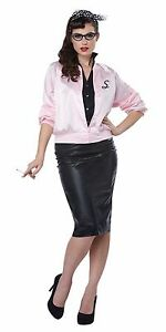 Details about Adult Pink Ladies 50\u0027s Satin Varsity Jacket Grease Costume