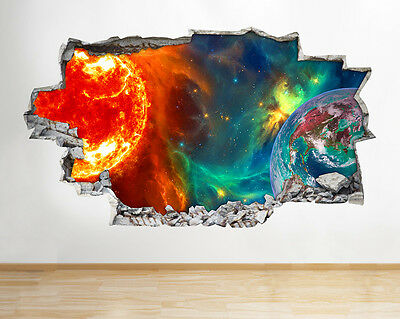 I017 Space Star Earth Sun Red Blue Smashed Wall Decal 3D Art Stickers Vinyl Room