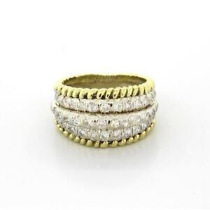 Estate-Multi-Row-Diamond-Ladies-Ring-18K-Two-Tone-Gold-1-00-CTW-Diamonds-4-75