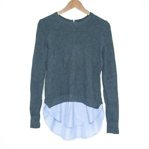 Tokito Twin Layer Womens Grey & Blue Jumper Sweater Size 8 Casual 100% Cotton