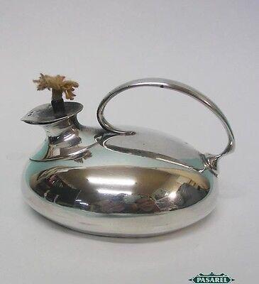 Novelty Sterling Silver Oil Lamp Form Table Cigar Lighter Joseph Cook & Son 1911
