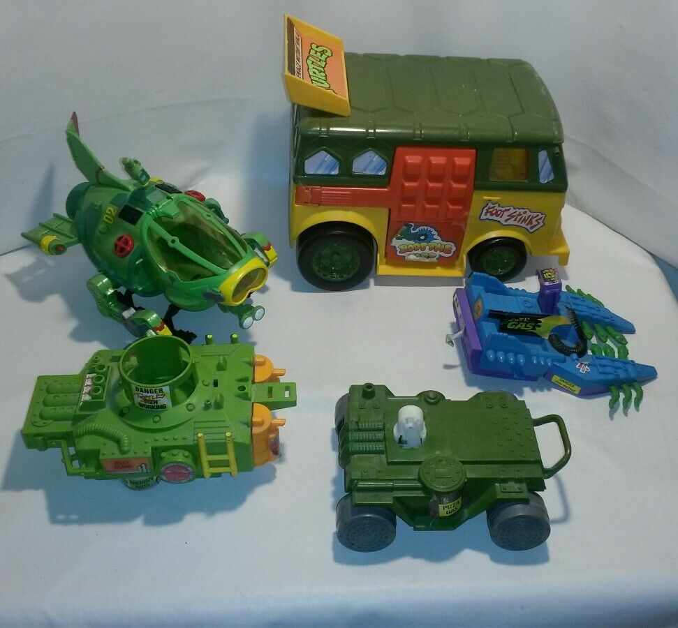 LOT VINTAGE TMNT PARTY VAN SHELL SUB FOOTSKI PIZZA THROWER & BASE PARTS REPAIR
