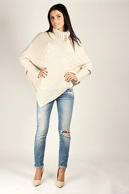Sensible Women's Thick Heavy Poncho Turtleneck Style Buttons Jersey FAS09
