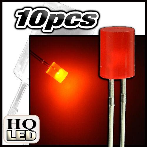 431R//10# LED 5mm cylindrique rouge diffusant 10pcs Flat TOP LED red 10pcs