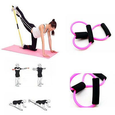 Pink Fitness Exercise Yoga 8 Shaped Pull Rope Tube Resistance Tool Gym Bands
