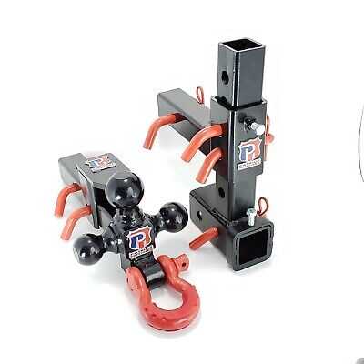"""2/"""" RECEIVER ADJUSTABLE TRAILER HITCH TRIPLE TRI-BALL MOUNT PINTLE HOOK D-RING"""