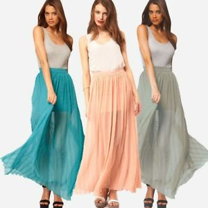 cdfdf2be8 ASOS Ladies Womens Pleated Maxi Skirt Full Length Elasticated Waist ...