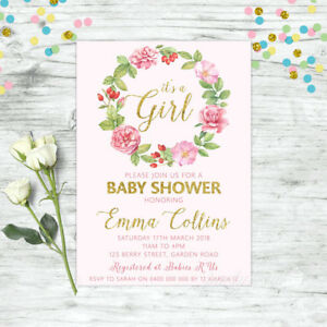 PERSONALISED-BABY-SHOWER-INVITATION-FLORAL-INVITE-PINK-GOLD-GIRL-BOHO-CHIC