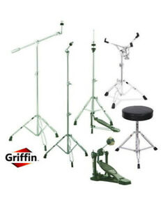 Drum-Hardware-Pack-Griffin-Stand-Set-Snare-Hi-Hat-Cymbal-Throne-Kick-Pedal-Kit