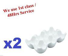 2x Soporte Huevo Bandeja Holds 6 Huevos Hecho De Cerámica Blanca Vinci Porcelana