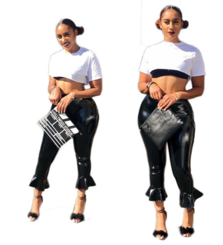 Fashion Women Black Bodycon Causal Ruffled Skinny Cropped Faux Leather Pants