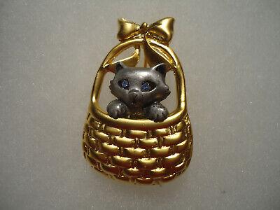 Danecraft vintage//nos gold pewter tone Cat In the Basket pin